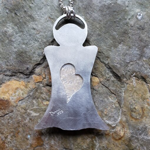 """my guardian"" angle pendant back. Dona Miller Designs, LLC"